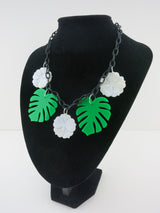 Mother of Pearl Monstera Leaf Necklace - white