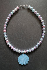 Counter Culture Republic Mermaid Shell Bead Necklace in Sky Blue