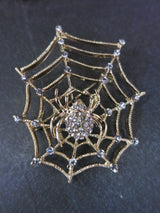 Spider Web Brooch Diamante - Gold