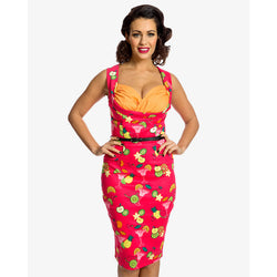 Lindy Bop Vanessa Red Fruit Cocktail Pencil Dress 8-16