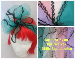 Nylon Scarf Hair Scarves Sheer Japan 40s 50s Scalloped Edge