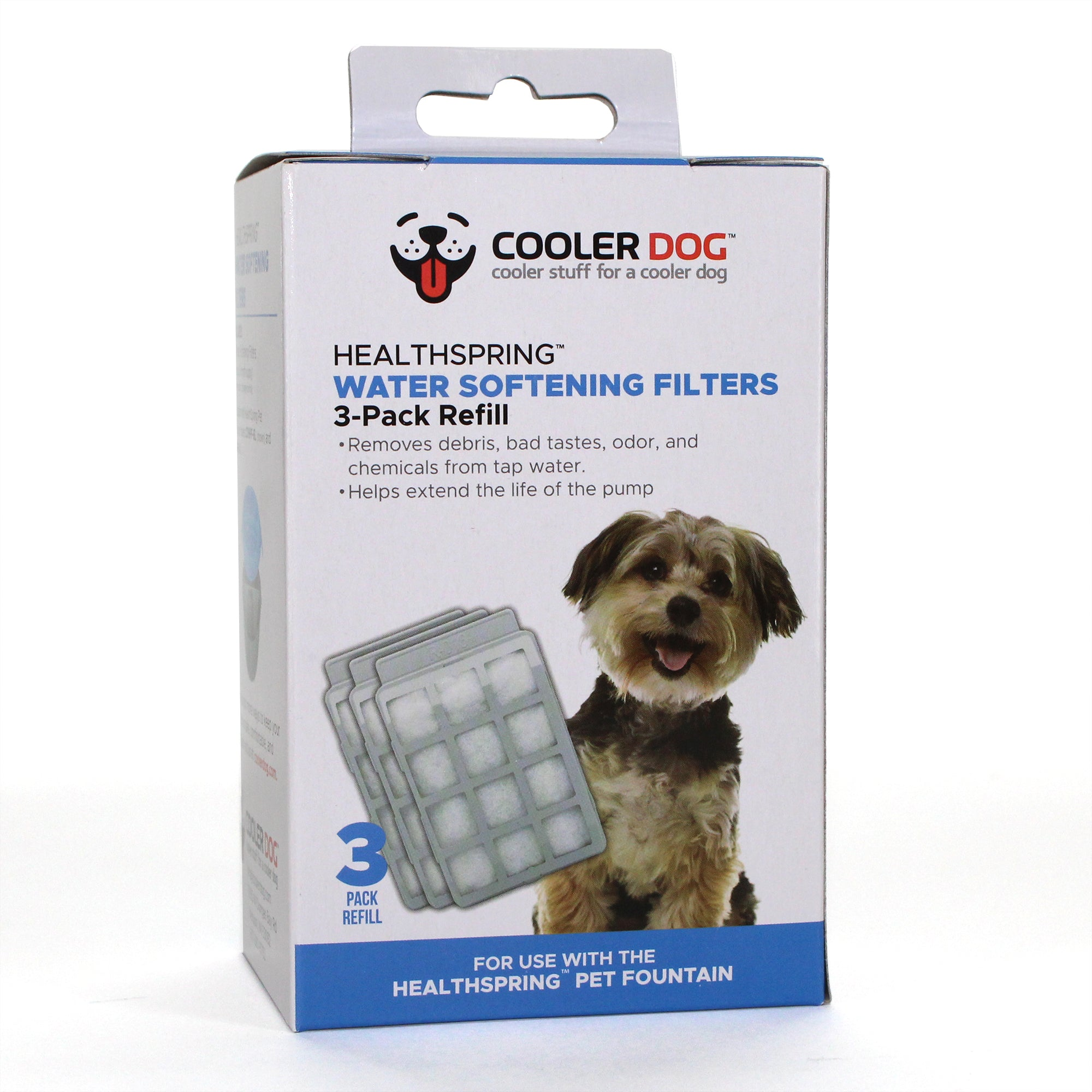 CoolerDog Healthspring Pet Fountain Water Softener Filters, 3-Pack