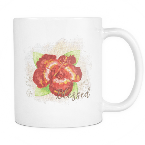 Blessed Floral 11 oz White  Mug