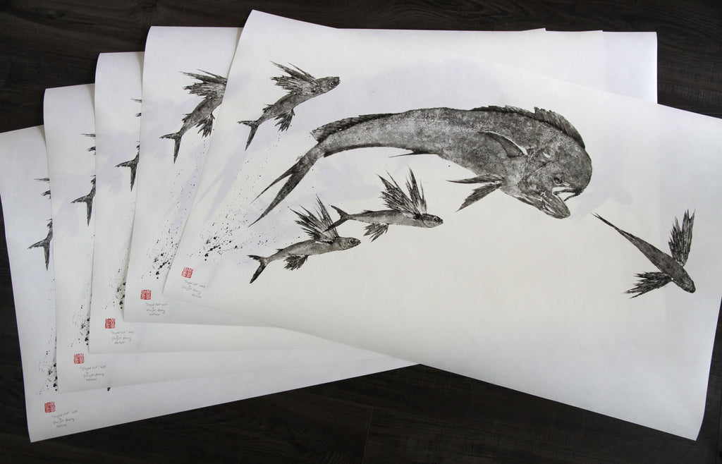 """Singled Out"" Limited Edition Gyotaku by Dwight Hwang - Tail Fly Fishing Magazine - Online Fly Shop"