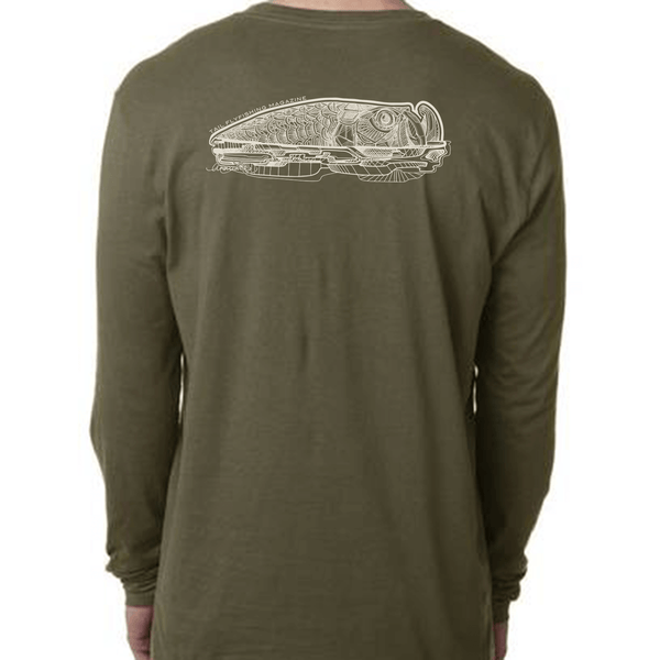 Long Sleeve Tee - Rolling Tarpon - Military Green - Tail Fly Fishing Magazine - Online Fly Shop