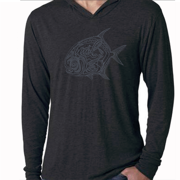 Black Heather Hoodie Tee - Permit 2019 - Tail Fly Fishing Magazine - Online Fly Shop