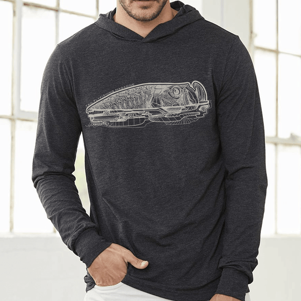 Black Heather Hoodie Tee - Tarpon 2019 - Tail Fly Fishing Magazine - Online Fly Shop