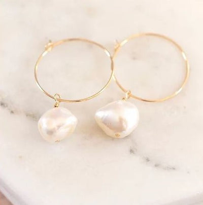 Keshi Large Pearl Hoop Earrings - 14K Gold Filled