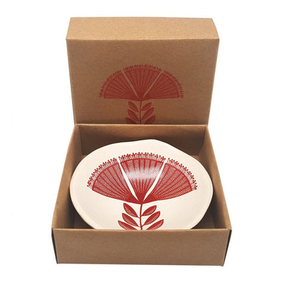 Porcelain Bowl - Red Pohutukawa, on White 7cm