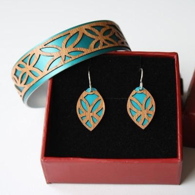 SET- Cuff and earring, Tivae Teal