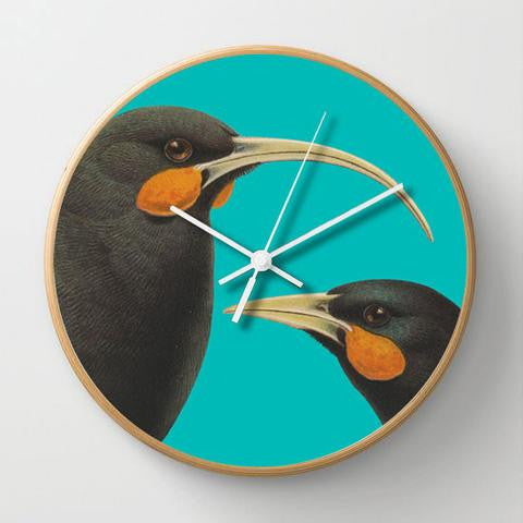 CLOCK, Bright Huia, wood frame