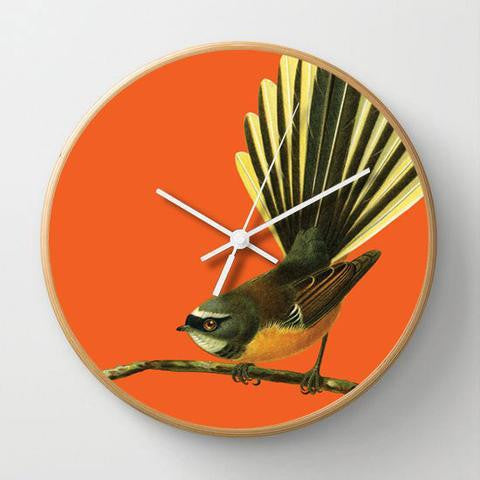 CLOCK- Bright Fantail, wood frame