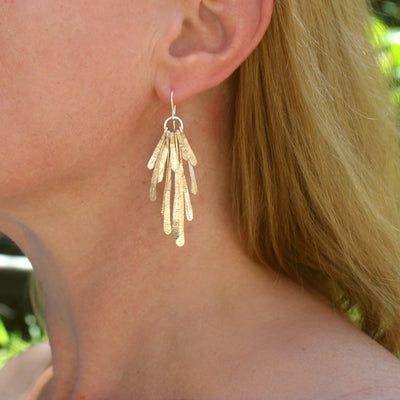 EAR - Flutter Statement , Stg & Gold Plated Brass