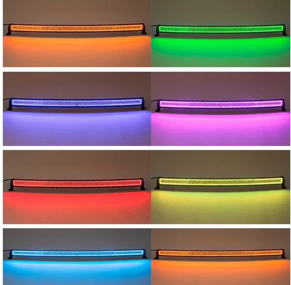CREE CURVED LIGHTBAR W/ MULTI COLOR HALO RING (52 INCH)
