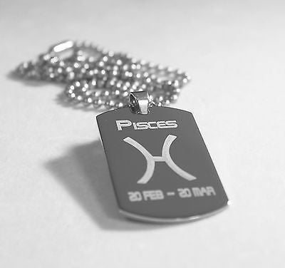 PISCES SOLID STAINLESS STEEL ZODIAC SIGN TRAITS DOG TAG NECKLACE PENDANT