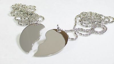 STAINLESS  SPLIT HEART LOVE FRIENDSHIP TAG BLANK  NECKLACES FREE ENGRAVING