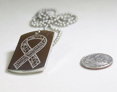 AUTISM AWARENESS RIBBON SOLID THICK STAINLESS STEEL DOG TAG NECKLACE
