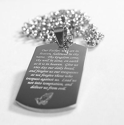 THE LORD'S PRAYER  SOLID THICK STAINLESS STEEL HIGH SHINE DOG TAG NECKLACE - Samstagsandmore
