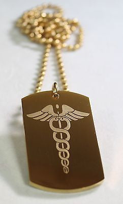 CADUCEUS MEDICAL INSIGNIA IPG GOLD  NECKLACE  DOG TAG STAINLESS STEEL BALL CHAIN