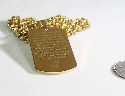 THE LORD'S PRAYER OUR FATHER NECKLACE POEM DOG TAG STAINLESS STEEL