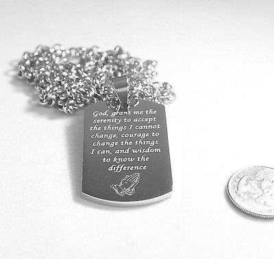SERENITY  PRAYER  CROSS SOLID THICK STAINLESS STEEL HIGH SHINE DOG TAG NECKLACE