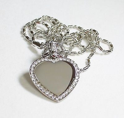 STAINLESS STEEL  CZ BLING  ICED OUT HEART AND BALE  CUSTOM DOG TAG NECKLACE