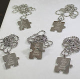PERSONALIZED PUZZLE PIECES PENDANTS NECKLACE SIX, FAMILY COUSINS, FRIENDS - Samstagsandmore
