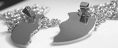 SOLID STAINLESS STEEL SPLIT HEART DOG TAGS BLANK  NECKLACES FREE ENGRAVING
