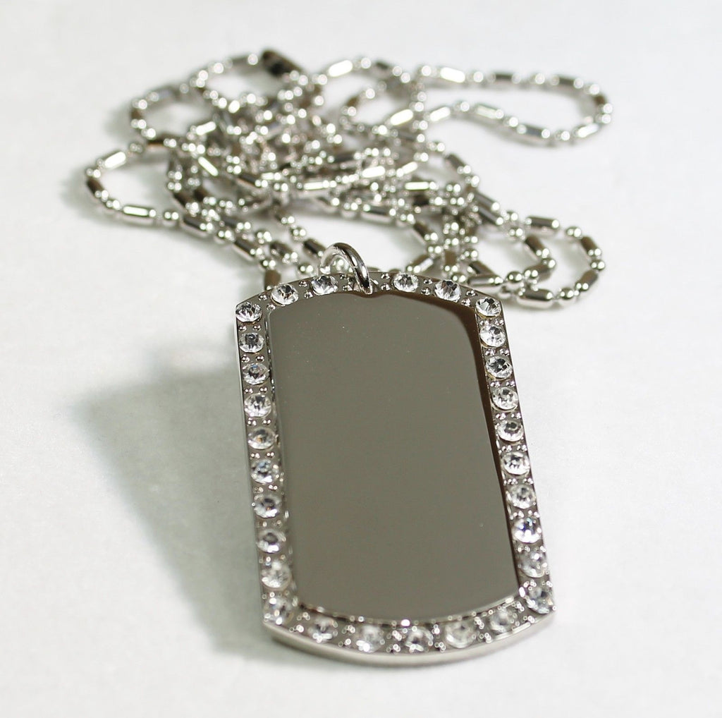 SILVER TONE  CZ BLING, ICED OUT, ICE  CUSTOM DOG TAG NECKLACE