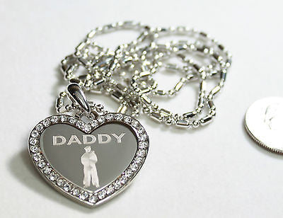 CZ BLING HEART MILITARY SON DAD. BROTHER NECKLACE SAILOR  NAVY