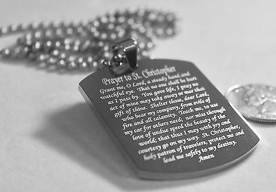 ST. CHRISTOPHER TRAVELERS  PRAYER STAINLESS STEEL NECKLACE TAG THICK HEAVY