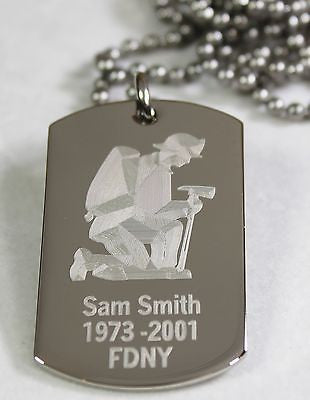 PERSONALIZED  FIREFIGHTER DOG TAG NECKLACE STAINLESS STEEL  FREE ENGRAVING - Samstagsandmore