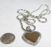 STAINLESS STEEL  CZ BLING HEART AND BALE  CUSTOM DOG TAG NECKLACE - Samstagsandmore