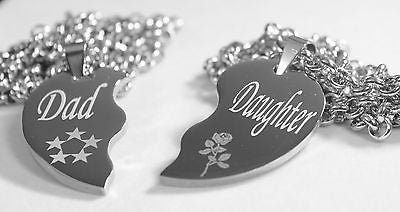 SOLID STAINLESS STEEL DAD  DAUGHTER  SPLIT HEART NECKLACES LOVE FREE ENGRAVING - Samstagsandmore