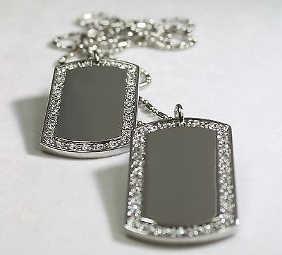2X RHODIUM PLATED NECKLACE PENDANT DOG TAG CZ  BLING  CUSTOM MILITARY TAGS - Samstagsandmore