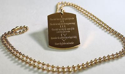 TEN COMMANDMENTS SOLID  STAINLESS STEEL IPG GOLD PLATED  BALL CHAIN NECKLACE