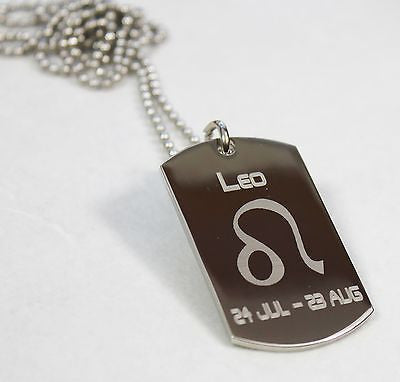 LEO ZODIAC SIGN TRAITS DOG TAG NECKLACE PENDANT STAINLESS STEEL