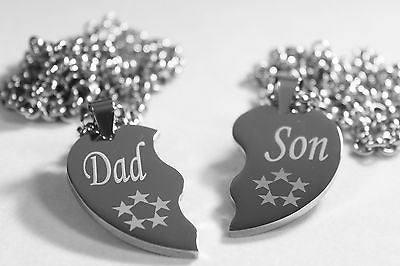 SOLID STAINLESS STEEL DAD  SON  SPLIT HEART NECKLACES LOVE FRIENDSHIP