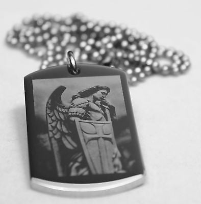 ST. MICHAEL IMAGE PRAYER SOLID THICK STAINLESS STEEL SHINE CROSS PRAYER - Samstagsandmore
