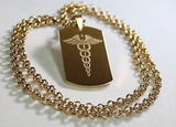 CADUCEUS MEDICAL INSIGNIA IPG GOLD  NECKLACE  DOG TAG STAINLESS STEEL COLOR GOLD - Samstagsandmore