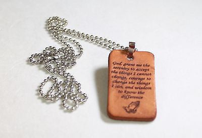 SERENITY PRAYER LEATHER  DOG TAG PENDANT NECKLACE