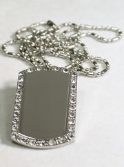 SILVER TONE  CZ BLING, CUSTOM DOG TAG NECKLACE - Samstagsandmore