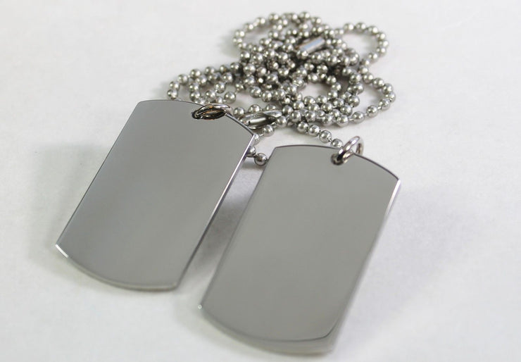 STAINLESS STEEL SOLID MILITARY STYLE (2) DOG TAG PENDANT NECKLACE FREE ENGRAVE - Samstagsandmore