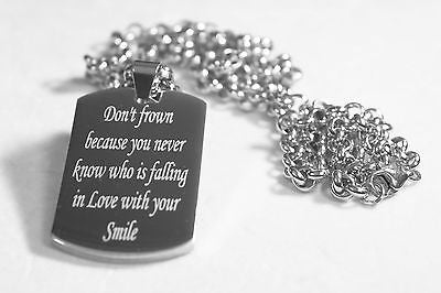 MOTIVATIONAL INSPIRATIONAL LOVE QUOTE SMILE NECKLACE  DOG TAG STAINLESS STEEL - Samstagsandmore