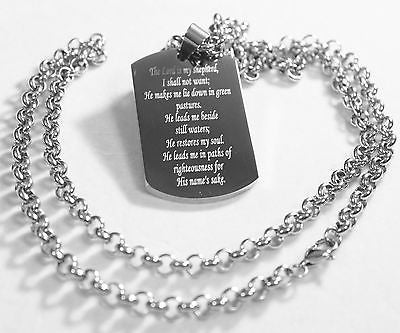 PSALM 23  THICK  NECKLACE  DOG TAG STAINLESS STEEL ROLO CHAIN PRAYER MEMORIAL