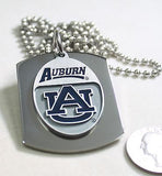 AUBURN UNIVERSITY  X LARGE  DOG TAG STAINLESS STEEL NECKLACE LOGO FREE ENGRAVE
