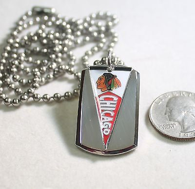 CHICAGO BLACKHAWKS NHL PENNANT STAINLESS STEEL DOG TAG NECKLACE  3D BALL CHAIN