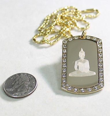 BUDDHA IMAGE  ENGRAVED ICED OUT,GOLD PLATED, CZ, BLING, DOG TAG, NECKLACE