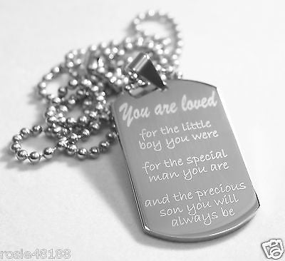 SON, DADDYS SON MOMMYS BOY SPECIAL NECKLACE DOG TAG STAINLESS STEEL