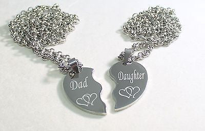 SPLIT HEART NECKLACES DAD DAUGHTER IMAGE SOLID STAINLESS STEEL